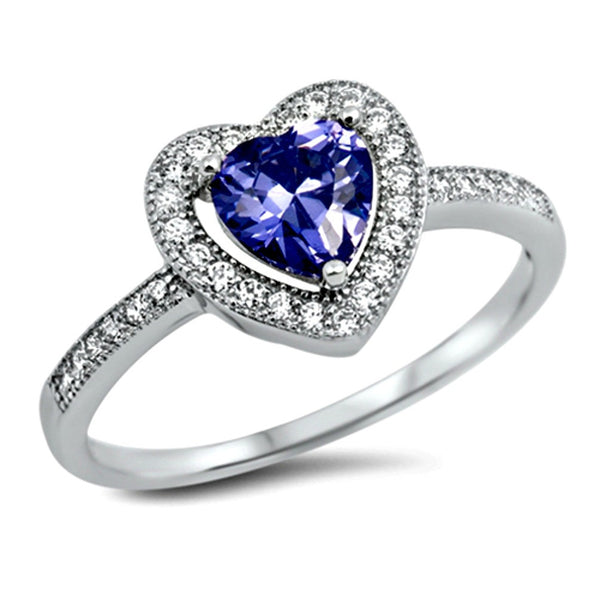 .925 Sterling Silver Tanzanite Halo Heart Engagement Ring Ladies size 4-10
