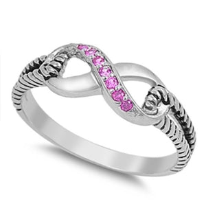 Sterling Silver Pink Topaz CZ Infinity Ring with Cable Band Size 4-10 by Blades and Bling Sterling Silver Jewelry
