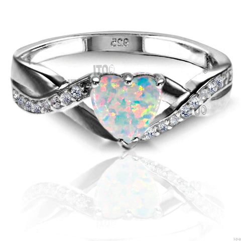 .925 Sterling Silver CZ and White Fire Opal Heart Celtic Ladies promise ring size 4-12