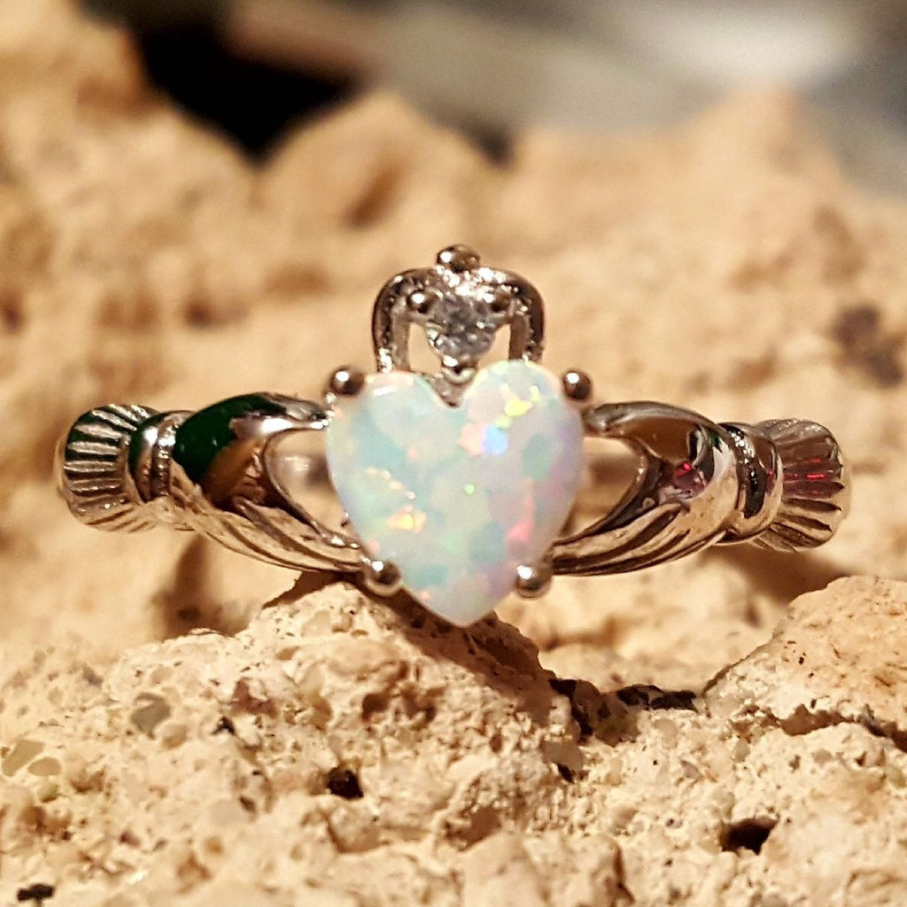 .925 Sterling Silver White Fire Opal Claddagh Ring Size 3-13