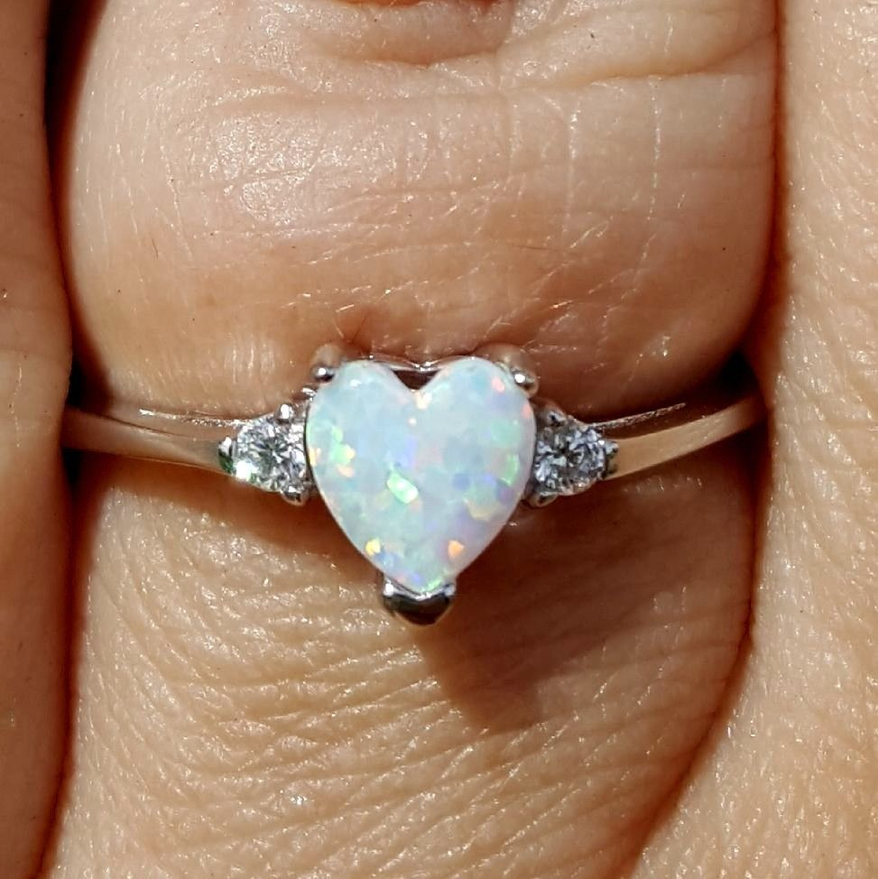 White heart opal ring size 3-12