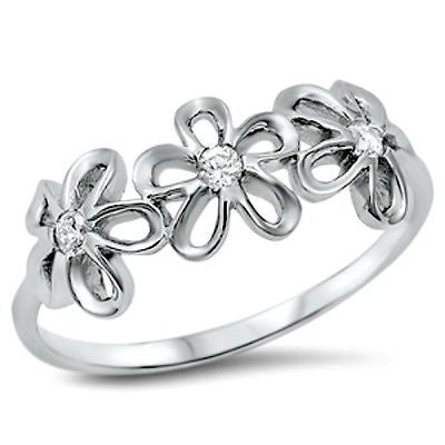 Sterling Silver Daisy Flower CZ Ring Kids and Ladies ring size 4-12 - Blades and Bling Sterling Silver Jewelry
