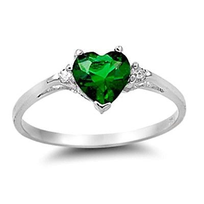 Sterling Silver Green Emerald Heart cut Kids and Ladies ring size 3-12 - Blades and Bling Sterling Silver Jewelry