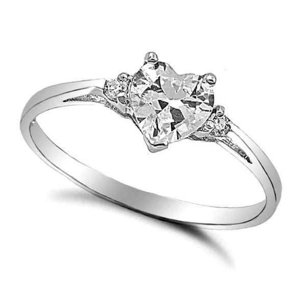 Sterling Silver Simulated Diamond Heart cut Kids and Ladies Ring size 3-12 by Blades and Bling Sterling Silver Jewelry