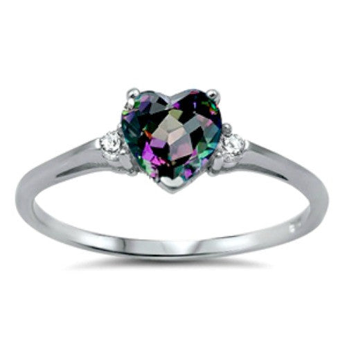 Sterling Silver Rainbow Mystic Topaz Heart cut Kids and Ladies ring size 3-12 - Blades and Bling Sterling Silver Jewelry