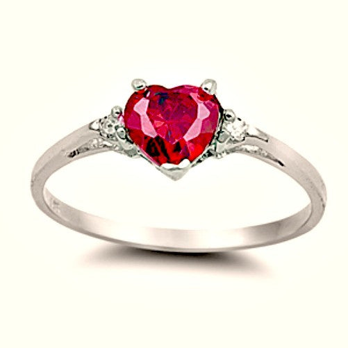Sterling Silver Ruby Heart cut Kids and Ladies Ring size 3-12 by Blades and Bling Sterling Silver Jewelry