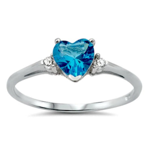 Sterling Silver Blue Topaz Heart cut Kids and Ladies ring size 3-12 - Blades and Bling Sterling Silver Jewelry
