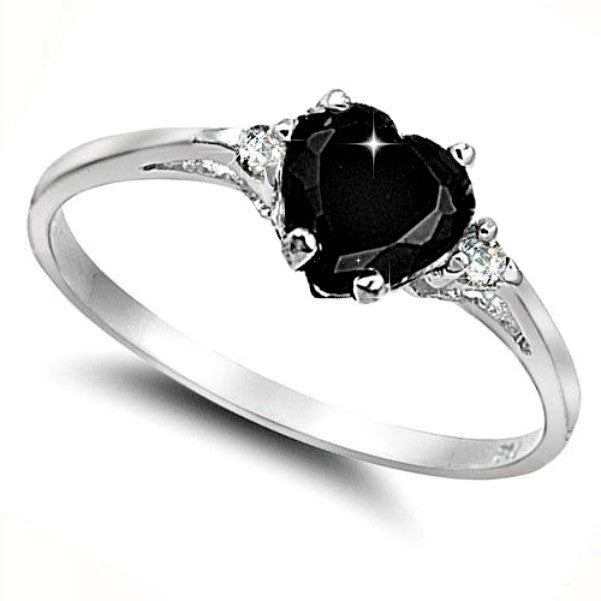 Sterling Silver Black Onyx Heart cut Kids and Ladies ring size 3-12 - Blades and Bling Sterling Silver Jewelry