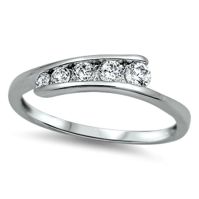 Sterling Silver CZ Journey Wedding Band Ring size 2-12 - Blades and Bling Sterling Silver Jewelry