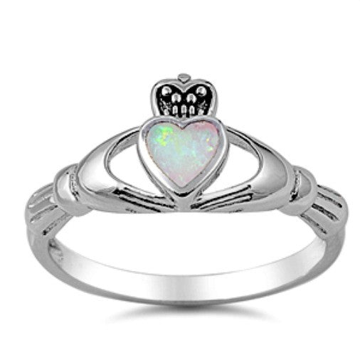 Womens rainbow fire opal heart claddagh ring