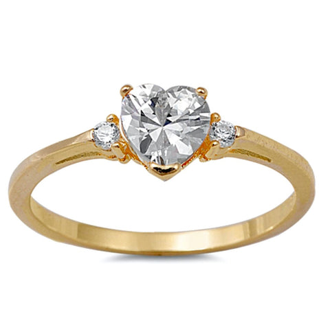 .925 Sterling Silver Yellow Gold Clear CZ Heart Kids and Ladies ring size 4-12