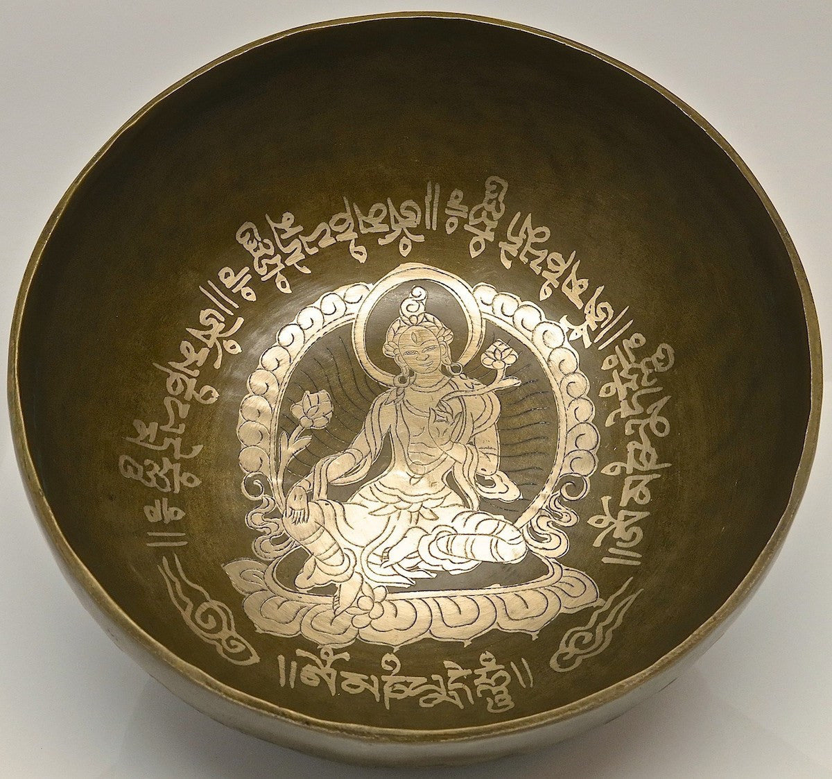 Golden Bodhisattva Tibetan Singing Bowl - Golden Bodhi Singing Bowl 7.75""