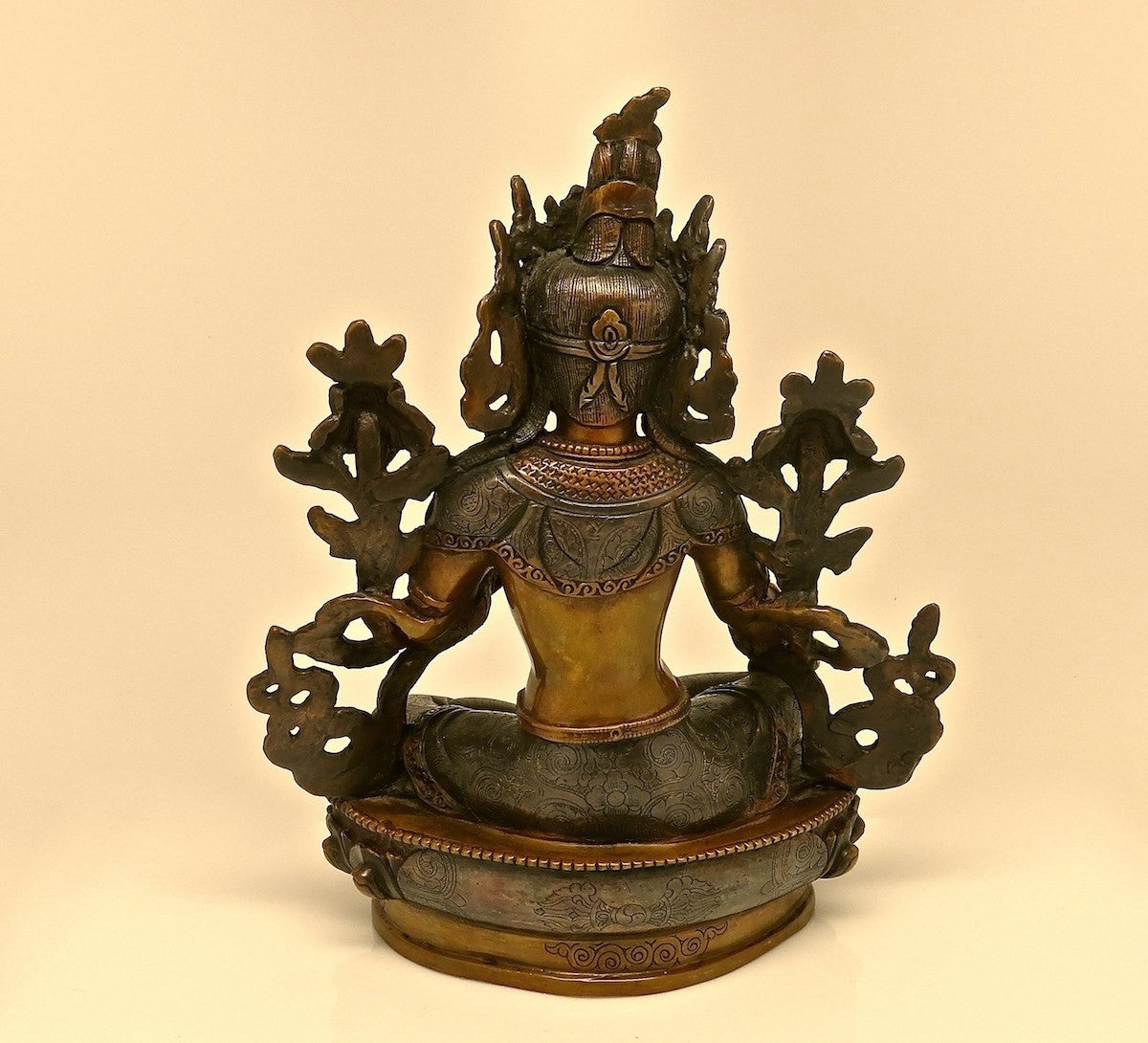 "Golden Mantra Singing Bowl - Bronze 8"" Green Tara Bodhisatva Rupa"