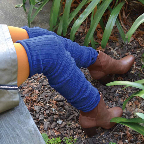Royal Blue Wool Blend Extra Long Ribbed Leg Warmers
