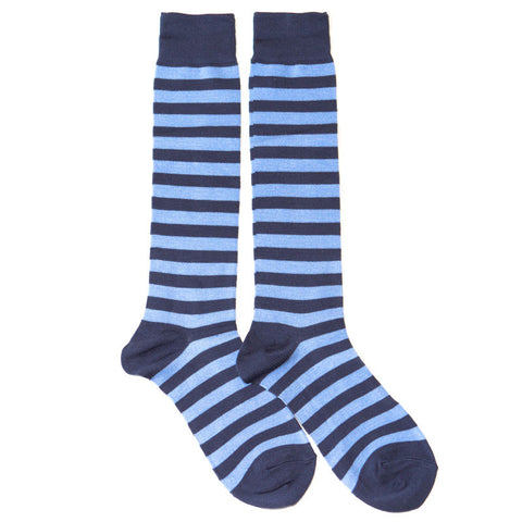Blue Striped Knee High Socks