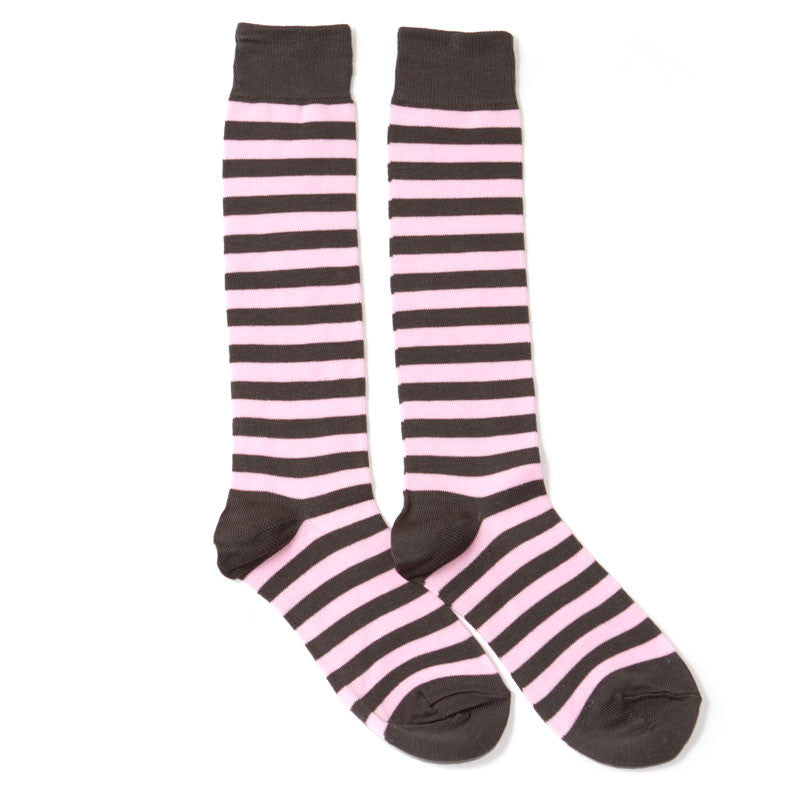 Pink Striped Knee High Socks