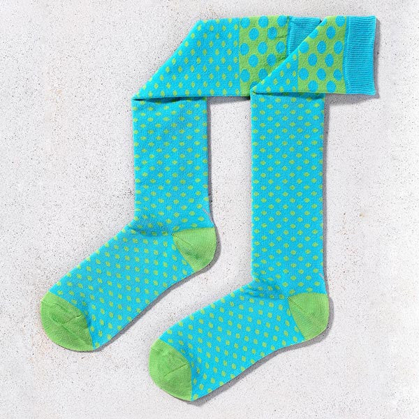 Blue Polka Dot Knee High Socks