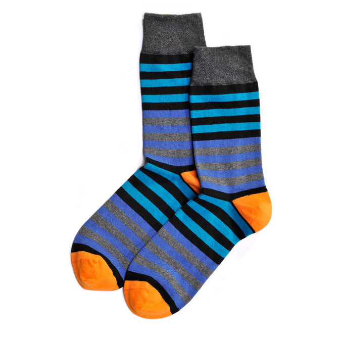 Blue Stripes with Orange Crew Socks