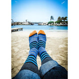 Blue Stripes with Orange Crew Socks on the Beach