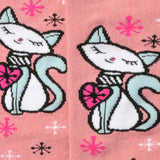 Retro Kitty Cat Knee High Socks Closeup