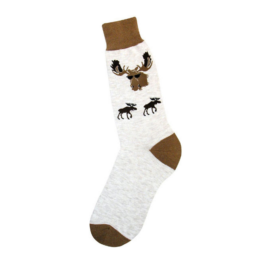 Cool Moose in Sunglasses Men's Crew Socks