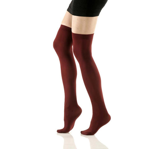 Burgundy Opaque Thigh Highs