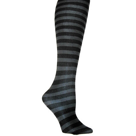 Black and Grey Striped Opaque Tights