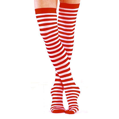 Red and White Striped Opaque Thigh Highs