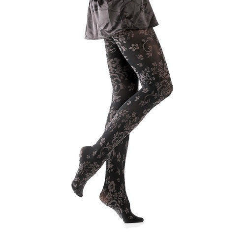 Platinum Floral Microfibre Tights