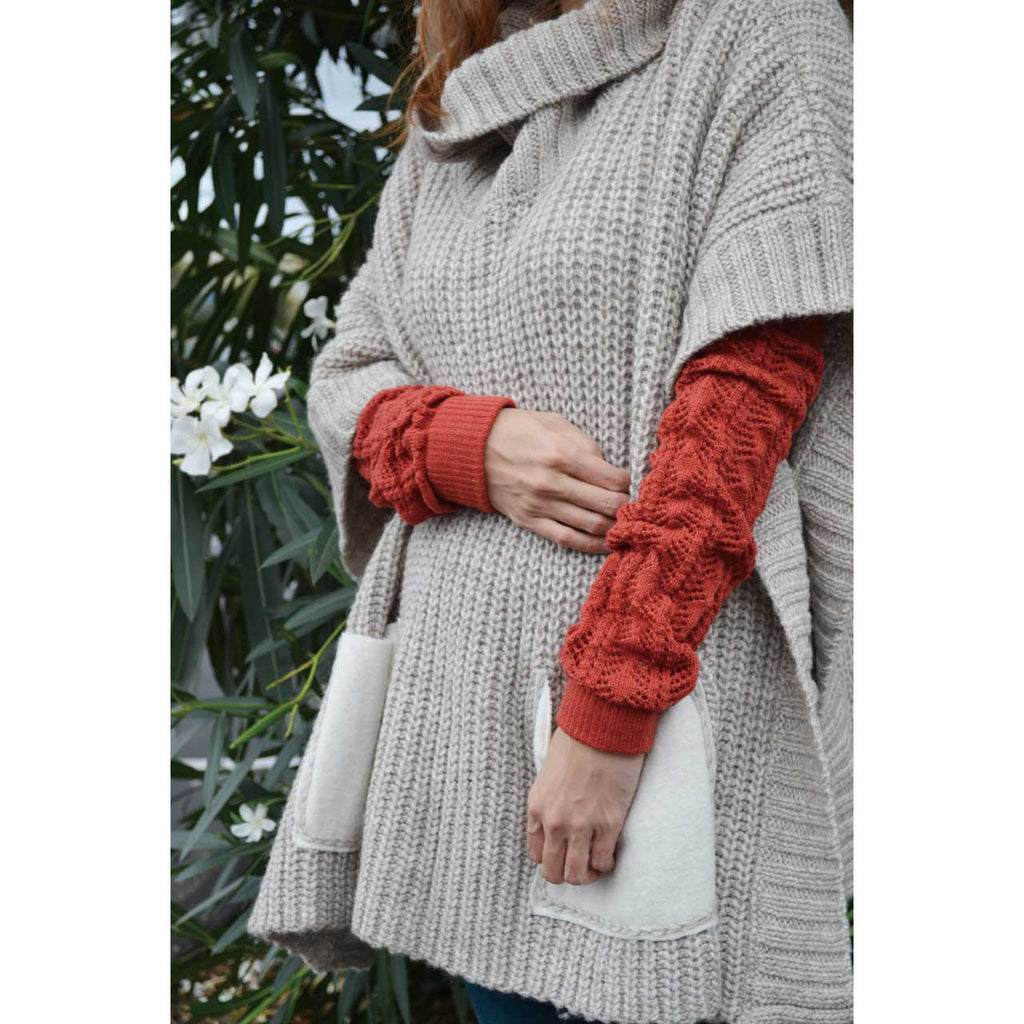 Rust Crochet Arm Warmers
