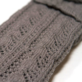 Stone Grey Crochet Arm Warmers Closeup