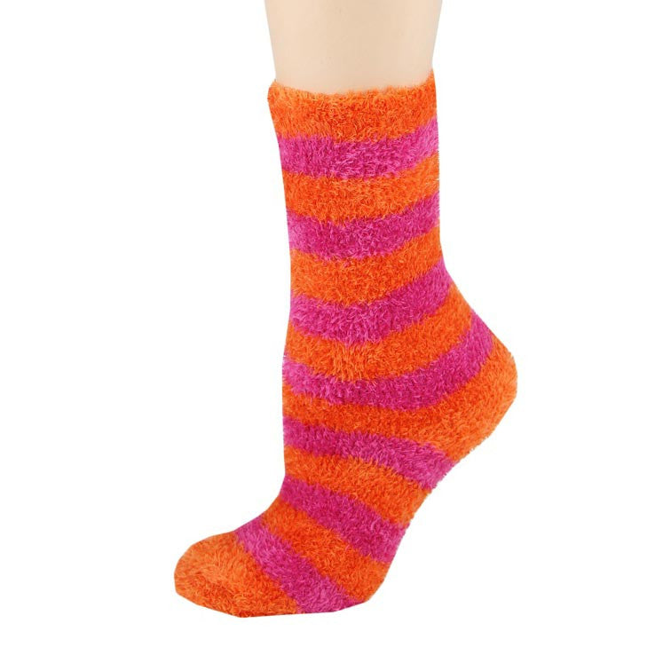 Orange and Pink Stripes Fuzzy Crew Socks
