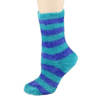 Turquoise and Blue Stripes Fuzzy Crew Socks