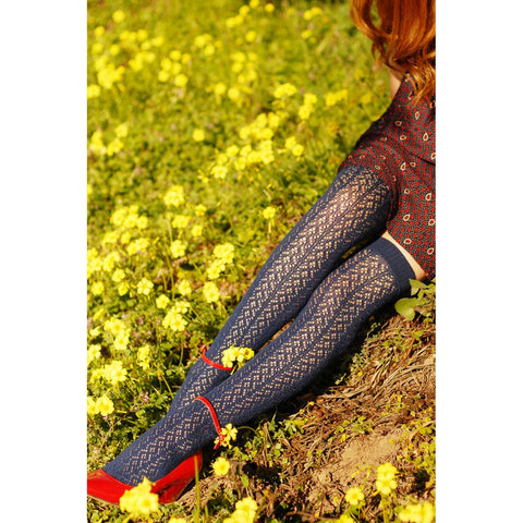 Navy Crochet Over-the-Knee Socks