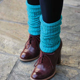 Turquoise Wool Blend Ribbed Leg Warmers