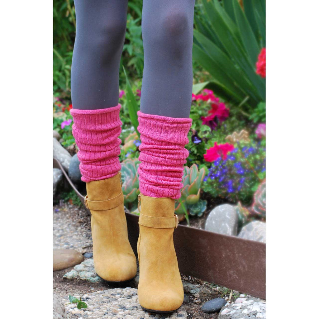 Light Pink Wool Blend Ribbed Leg Warmers