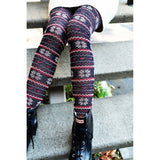 Navy and Red Snowflake Love Tights