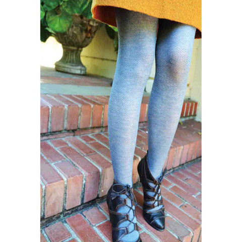 Blue Herringbone Tights