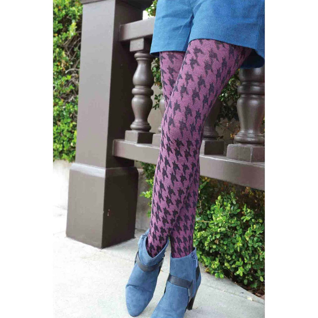 2377fca6656 Pink and Black Houndstooth Textured Tights