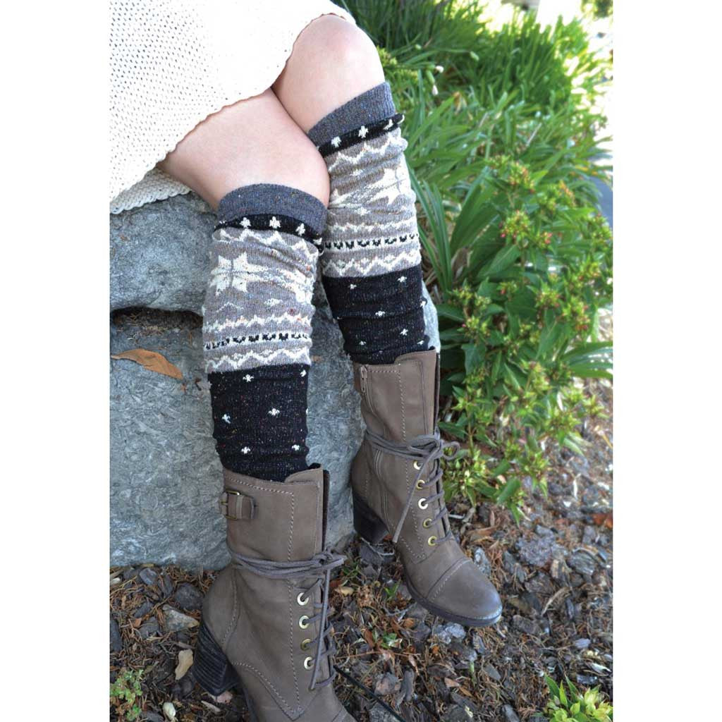 Black/Beige/Grey Nordic Leg Warmers