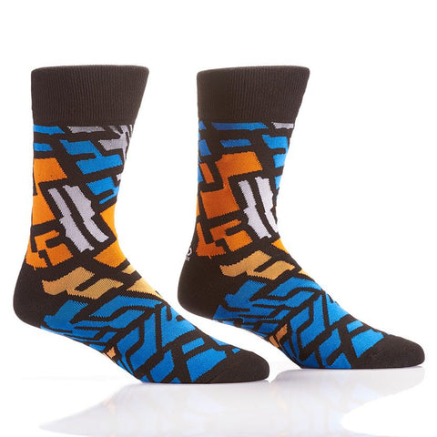 Orange and Blue Abstract Men's Crew Socks