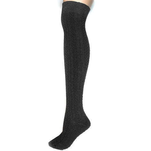 Black Cable-Knit Over-the-Knee Socks