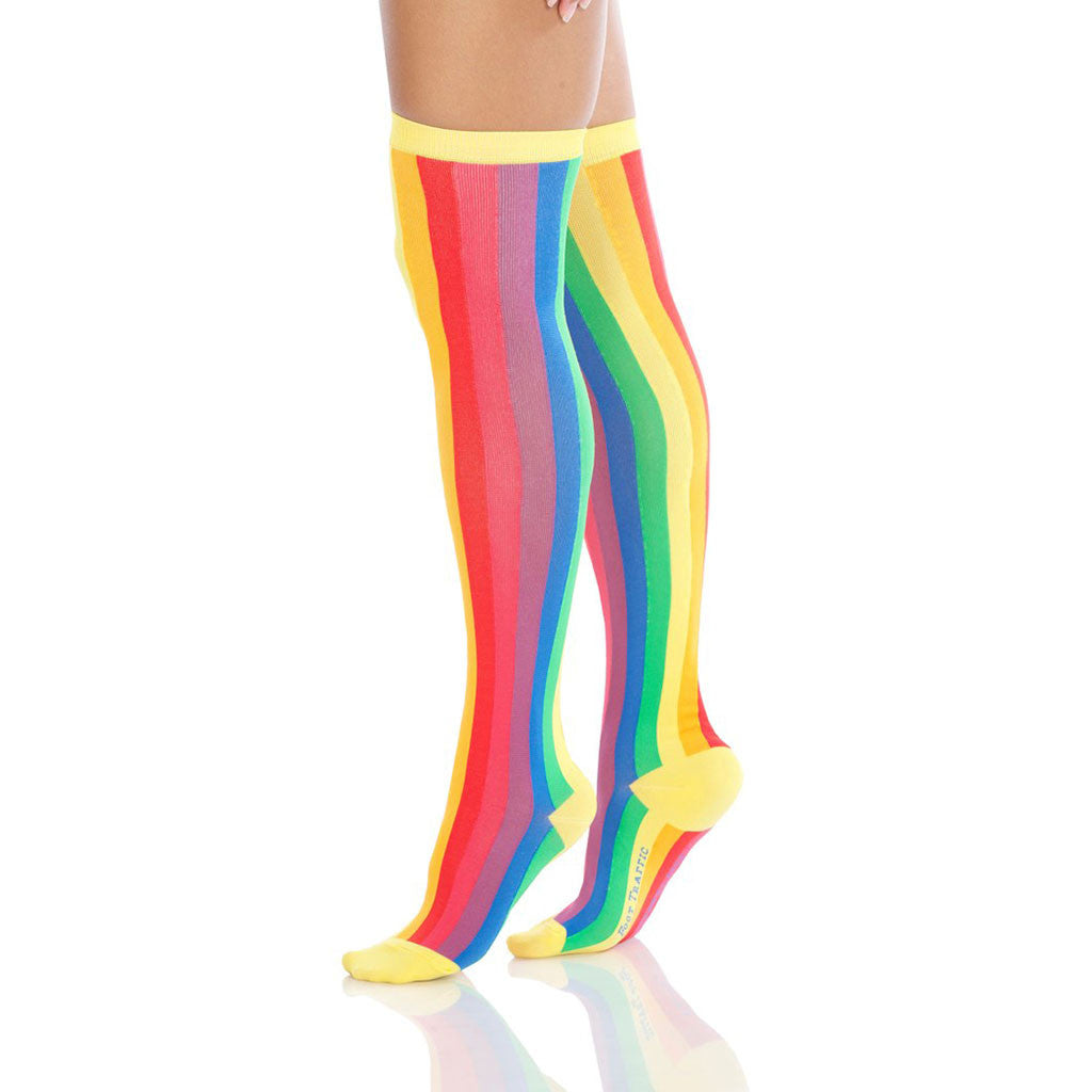 Vertical Rainbow Over-the-Knee Socks