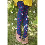 Heart Dots Over-the-Knee Socks (Navy with Red Hearts)