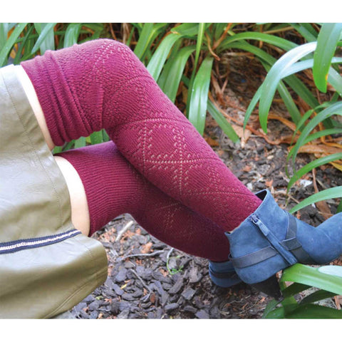 Pointelle Diamond Over-the-Knee Socks