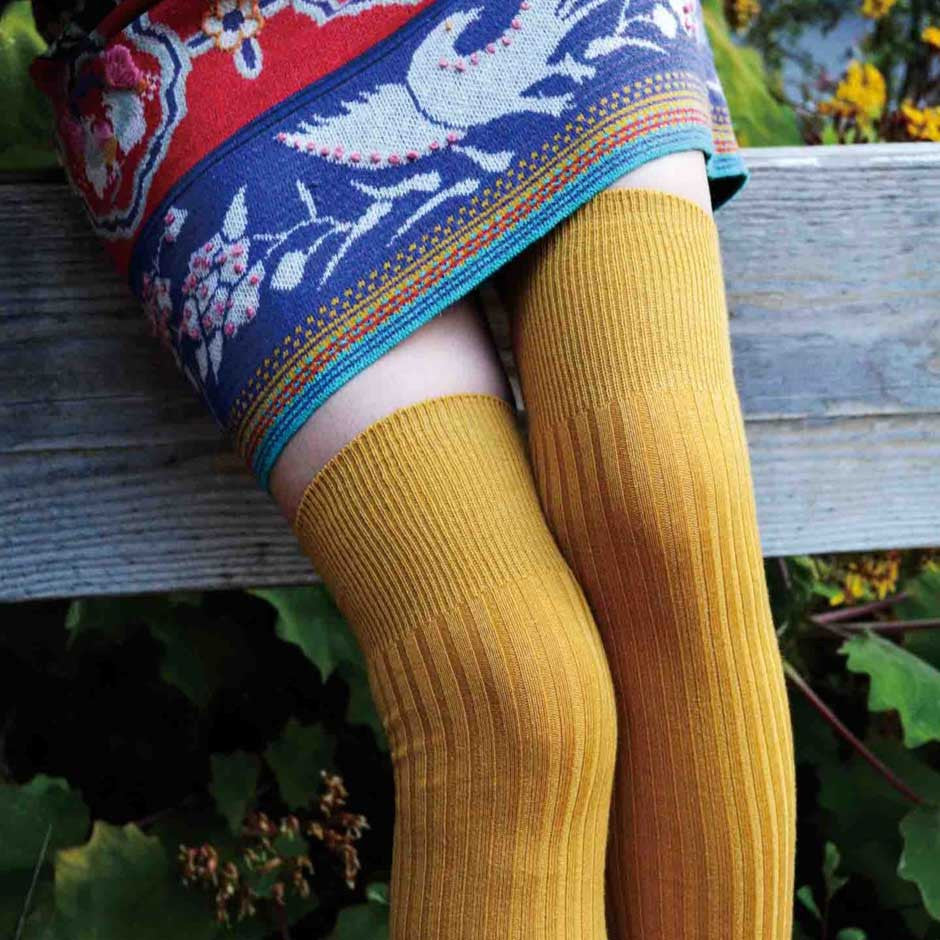 Mustard Gold Wool Blend Ribbed Over-the-Knee Socks