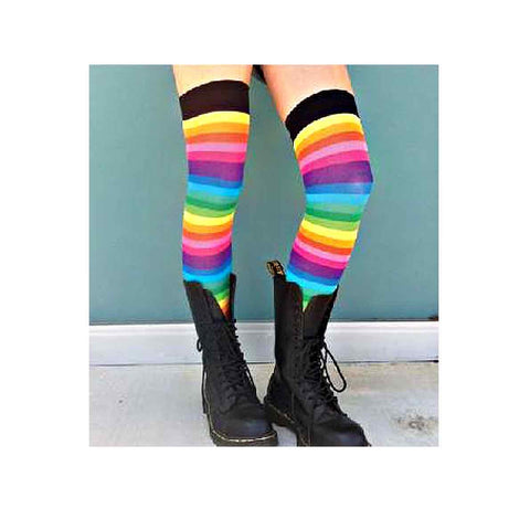 Pink Rainbow Over-The-Knee Socks