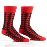 Red Houndstooth Men's Crew Socks