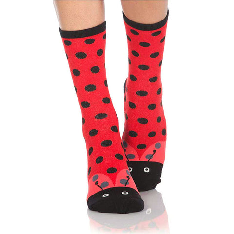 Ladybug Slipper Socks with Grips