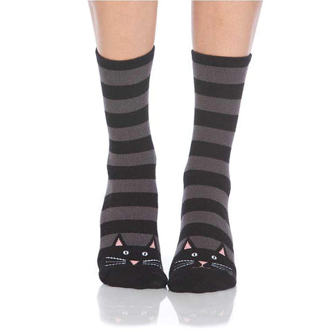 Cute Cat Striped Slipper Socks